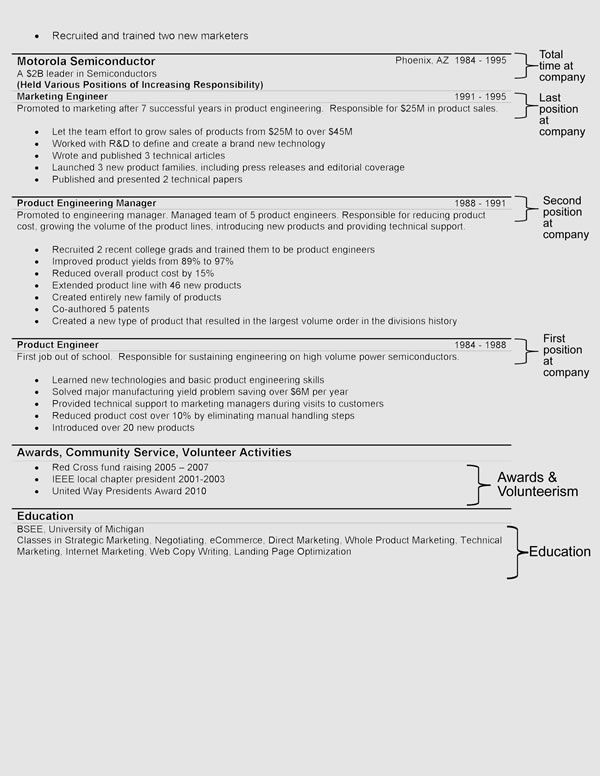 hybrid resume format second page